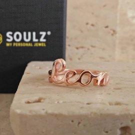 Naamring Soulz in zilver SR012 rood goud verguld