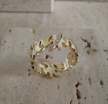 Gepersonaliseerde ring - the Wave - 18 karaat goud met briljanten