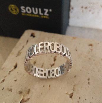 Big Capital ring in massief zilver 925 gerodineerd