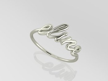 Name Ring Wire Silver