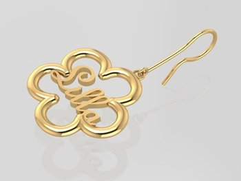 Name in flower earring GOLD