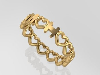 Initial Ring All Hearts Gold 18CT