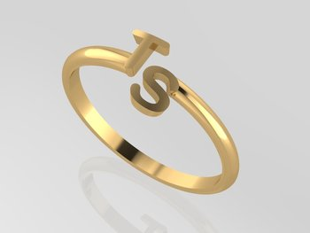 Initial Ring Wire Gold 18KT