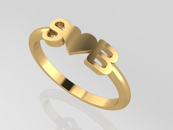 Initial Ring Heart Gold 18KT