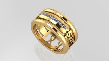 Floating text ring gold